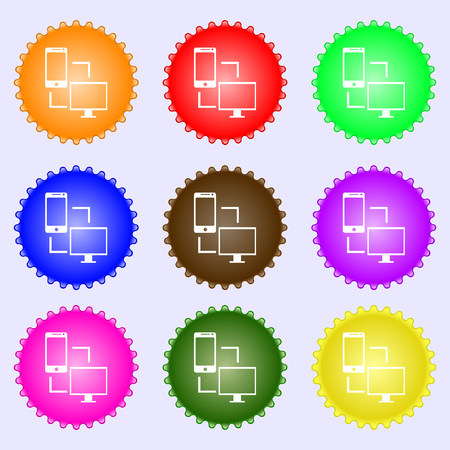 in sync: Synchronization sign icon. communicators sync symbol. Data exchange. A set of nine different colored labels. Vector illustration