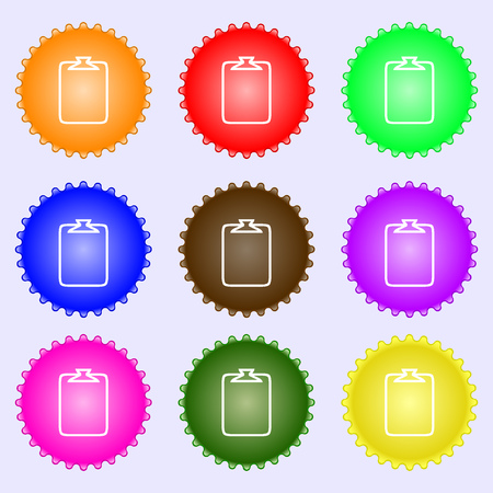 attach: File annex icon. Paper clip symbol. Attach sign. A set of nine different colored labels. Vector illustration Illustration