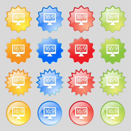 aspect: Aspect ratio 16:9 widescreen tv icon sign. Big set of 16 colorful modern buttons for your design. Vector illustration