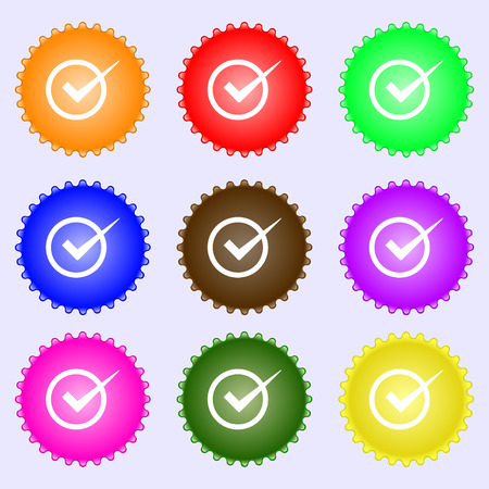 check mark sign: Check mark sign icon. Checkbox button. A set of nine different colored labels. Vector illustration