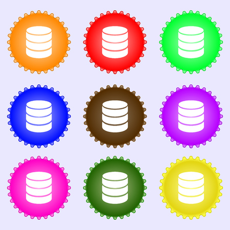protected database: Hard disk and database sign icon. flash drive stick symbol. A set of nine different colored labels. Vector illustration Vectores