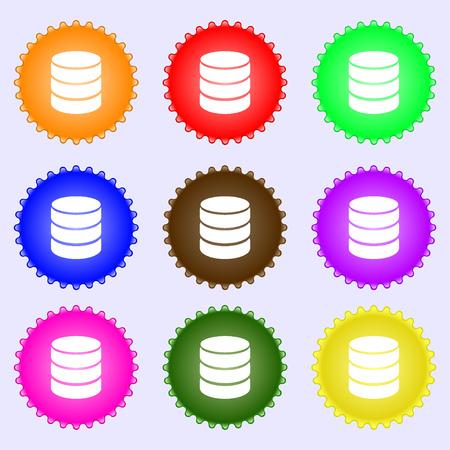 hard drive: Hard disk and database sign icon. flash drive stick symbol. A set of nine different colored labels. Vector illustration Illustration