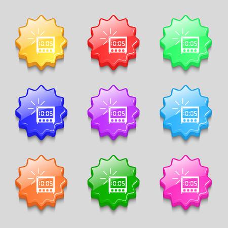 digital clock: digital Alarm Clock icon sign. Symbols on nine wavy colourful buttons. Vector illustration