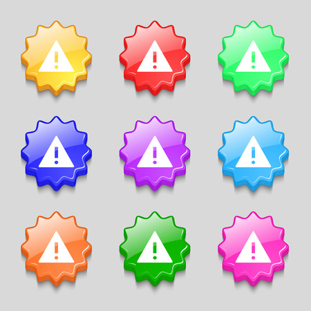 wrapped corner: Attention sign icon. Exclamation mark. Hazard warning symbol. Symbols on nine wavy colourful buttons. Vector illustration