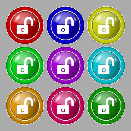 locker: Lock sign icon. Locker symbol. Symbol on nine round colourful buttons. Vector illustration