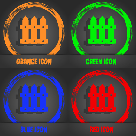 bucolic: Fence icon sign. Fashionable modern style. In the orange, green, blue, red design. Vector illustration