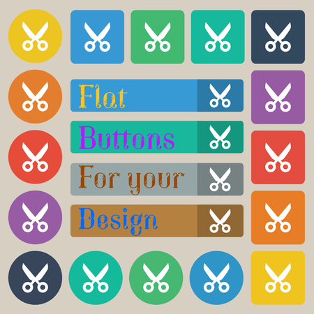 disclosed: Scissors hairdresser sign icon. Tailor symbol. Set of twenty colored flat, round, square and rectangular buttons. Vector illustration