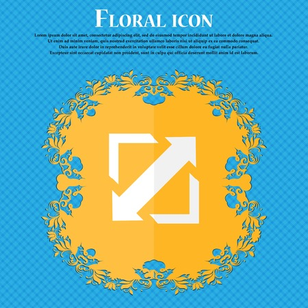 wider: Deploying video, screen size icon sign. Floral flat design on a blue abstract background with place for your text. Vector illustration