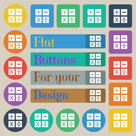 multiplicacion: Multiplicación, división, más, menos icon símbolo de matemáticas matemáticas. Conjunto de veinte coloreado plana, redonda, cuadrada y rectangular botones. ilustración vectorial Vectores