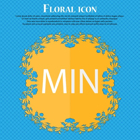min: minimum sign icon. Floral flat design on a blue abstract background with place for your text. Vector illustration Illustration