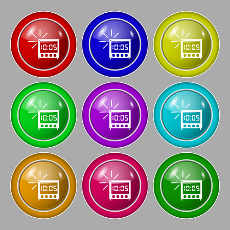 digital clock: digital Alarm Clock icon sign. Symbol on nine round colourful buttons. Vector illustration