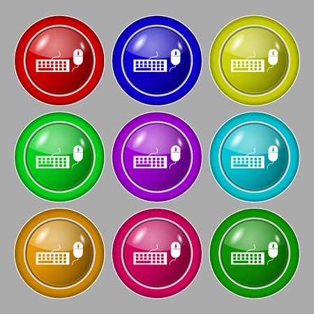 peripheral: Computer keyboard and mouse Icon. Symbol on nine round colourful buttons. Vector illustration
