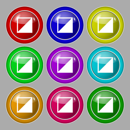 contrast: contrast icon sign. Symbol on nine round colourful buttons. Vector illustration