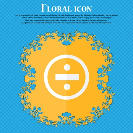 dividing: dividing icon sign. Floral flat design on a blue abstract background with place for your text. Vector illustration Illustration