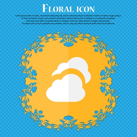 simplus: Cloud . Floral flat design on a blue abstract background with place for your text. Vector illustration