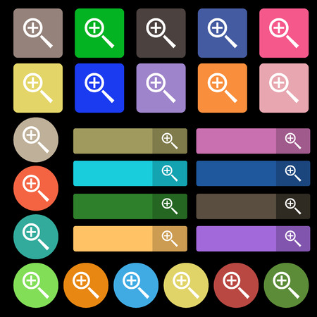 interface menu tool: Magnifier glass, Zoom tool icon sign. Set from twenty seven multicolored flat buttons. Vector illustration Illustration