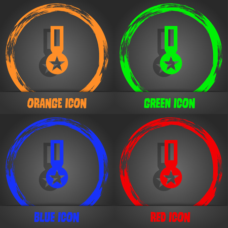 merit: Award, Medal of Honor icon sign. Fashionable modern style. In the orange, green, blue, red design. Vector illustration