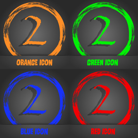 second place: Second place award sign. Winner symbol. Step two.. Fashionable modern style. In the orange, green, blue, red design. Vector illustration