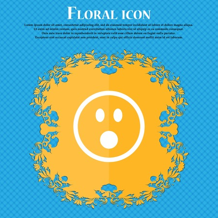 stress ball: Shocked Face Smiley . Floral flat design on a blue abstract background with place for your text. Vector illustration