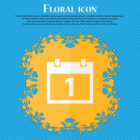 1 place: Calendar sign icon. 1 day month symbol. Date button. Floral flat design on a blue abstract background with place for your text. Vector illustration