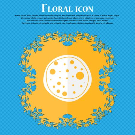 pizza place: Pizza Icon. Floral flat design on a blue abstract background with place for your text. Vector illustration Illustration