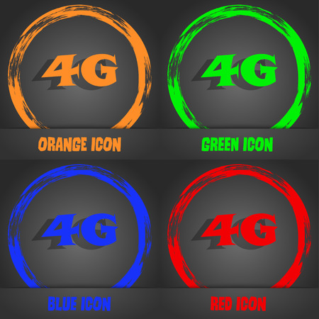 telephony: 4G sign icon. Mobile telecommunications technology symbol. Fashionable modern style. In the orange, green, blue, red design. Vector illustration
