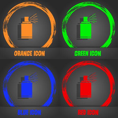 aerosol: Graffiti spray can sign icon. Aerosol paint symbol. Fashionable modern style. In the orange, green, blue, red design. Vector illustration Illustration