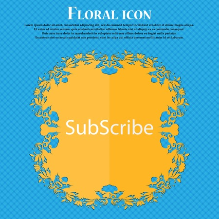 subscribing: Subscribe sign icon. Membership symbol. Website navigation. Floral flat design on a blue abstract background with place for your text. Vector illustration Illustration
