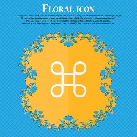 maestro: Keyboard Maestro icon. Floral flat design on a blue abstract background with place for your text. Vector illustration