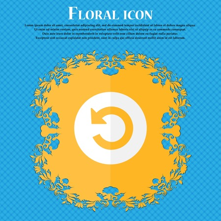 groupware: Upgrade, arrow icon sign. Floral flat design on a blue abstract background with place for your text. Vector illustration
