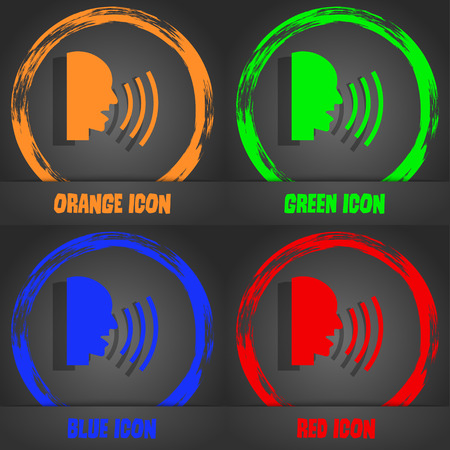loudy: Talking Flat modern web icon. Fashionable modern style. In the orange, green, blue, red design. Vector illustration