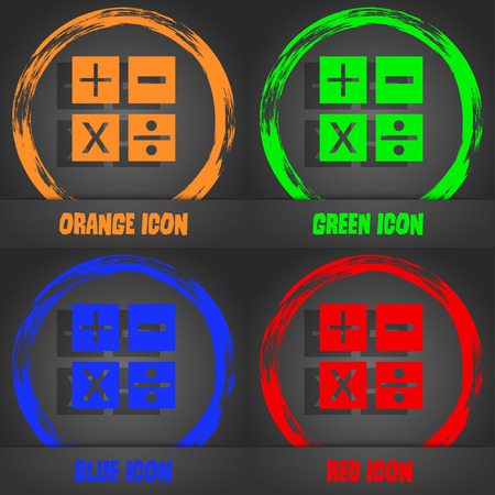 Multiplication, division, plus, minus icon Math symbol Mathematics. Fashionable modern style. In the orange, green, blue, red design. Vector illustration Illustration