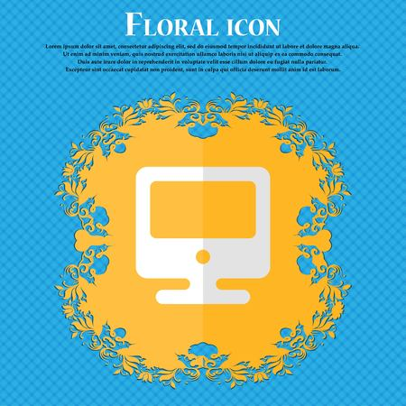 monitor. Floral flat design on a blue abstract background with place for your text. Vector illustration