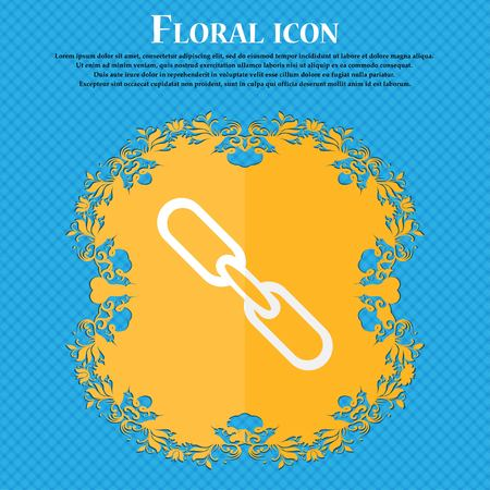 hyperlink: Link sign icon. Hyperlink chain symbol. Floral flat design on a blue abstract background with place for your text. Vector illustration