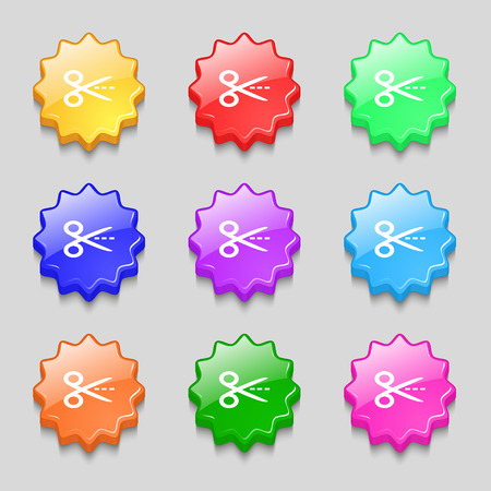 Scissors with cut dash dotted line sign icon. Tailor symbol. Symbols on nine wavy colourful buttons. Vector illustration