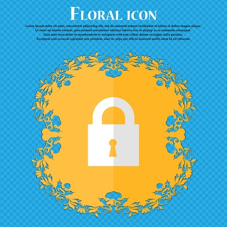 safest: closed lock. Floral flat design on a blue abstract background with place for your text. Vector illustration