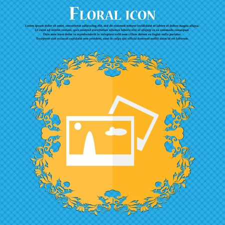 mime: Copy File JPG sign icon. Download image file symbol. Floral flat design on a blue abstract background with place for your text. Vector illustration