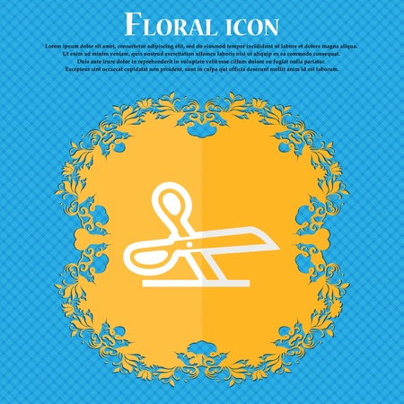 snip: scissors. Floral flat design on a blue abstract background with place for your text. Vector illustration