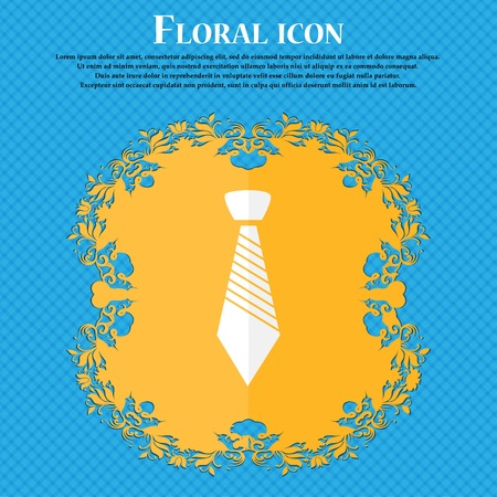 official wear: Tie sign icon. Business clothes symbol. Floral flat design on a blue abstract background with place for your text. Vector illustration