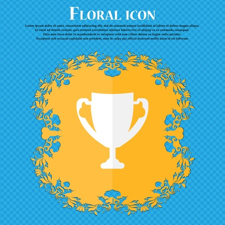 awarding: Winner cup sign icon. Awarding of winners symbol. Trophy. Floral flat design on a blue abstract background with place for your text. Vector illustration Illustration
