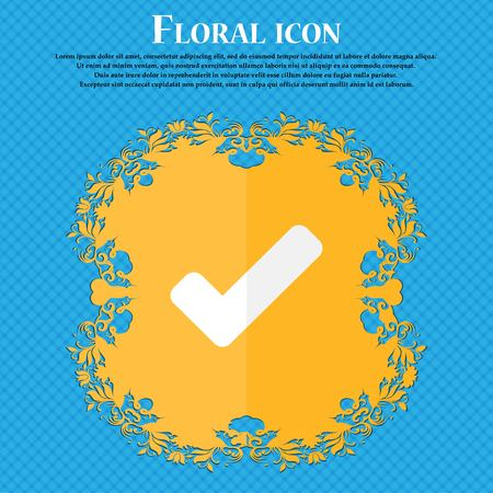 Check mark, tik . Floral flat design on a blue abstract background with place for your text. Vector illustration