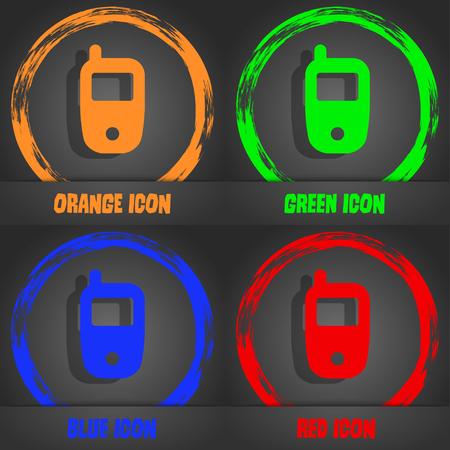 telecommunications technology: Mobile telecommunications technology symbol. Fashionable modern style. In the orange, green, blue, red design. Vector illustration Illustration