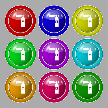 colourful fire: fire extinguisher icon sign. Symbol on nine round colourful buttons. Vector illustration