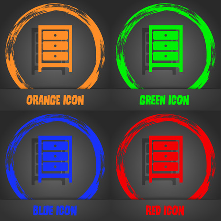 single shelf: Nightstand icon sign. Fashionable modern style. In the orange, green, blue, red design. Vector illustration