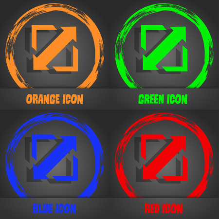 wider: Deploying video, screen size icon sign. Fashionable modern style. In the orange, green, blue, red design. Vector illustration
