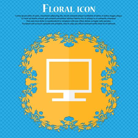blue widescreen widescreen: Computer widescreen monitor . Floral flat design on a blue abstract background with place for your text. Vector illustration Illustration
