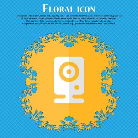 web cam: Web cam. Floral flat design on a blue abstract background with place for your text. Vector illustration