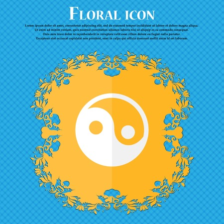 contrasts: Ying yang . Floral flat design on a blue abstract background with place for your text. Vector illustration