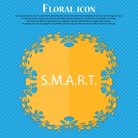 press button: Smart  sign icon. Press button. Floral flat design on a blue abstract background with place for your text. Vector illustration