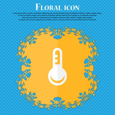 hotness: Thermometer, Temperature . Floral flat design on a blue abstract background with place for your text. Vector illustration